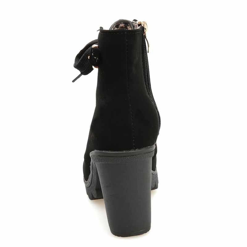 High Quality New Women Boots Solid Lace PU Fashion Fur Martin Boots