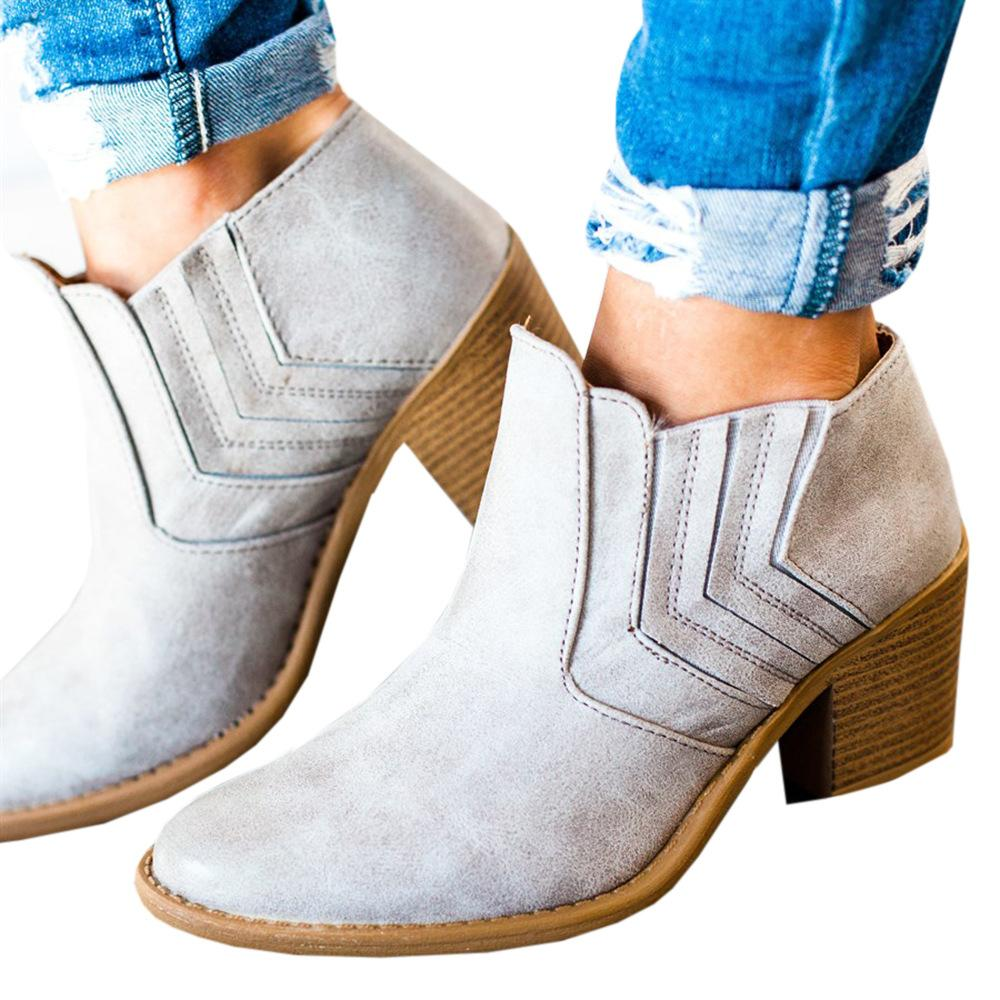 High Quality Women's Mid Block Heel Ankle Boots Ladies Round Toe Chunky Booties