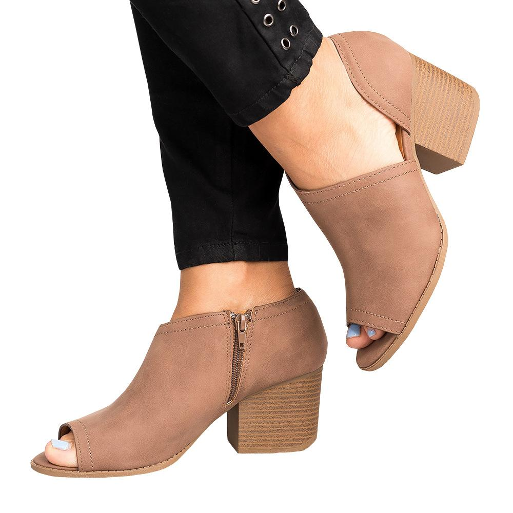 High quality Gladiator Sandals for Women Vegan Cut Out Peep Toe Chunky Block heel Ankle Shoes