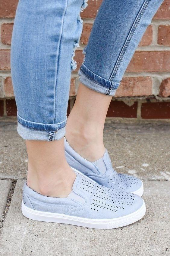 Hollow Woman Cut Low Heel Creepers Breathable Slip on Sneakers Shoes