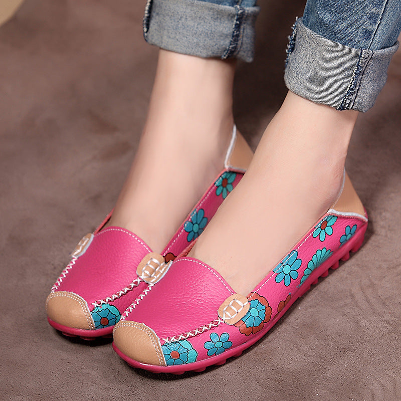 Cute Printed PU Daily Round Toe Flats Shoes