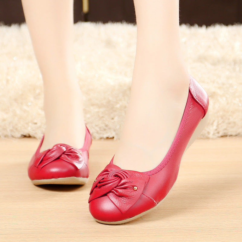 Cute Bow-knot PU Daily Round Toe Flats Shoes