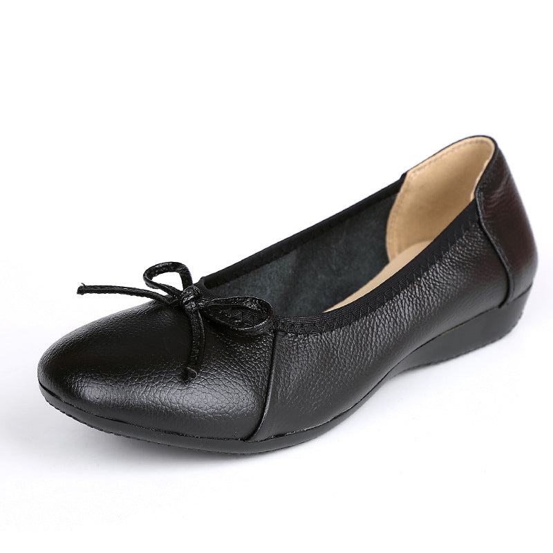 Women's Bow-knot PU Daily Round Toe Flats Shoes