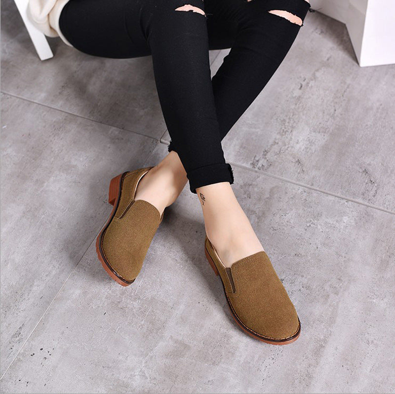 Vintage Women Round Toe Shoes Flat