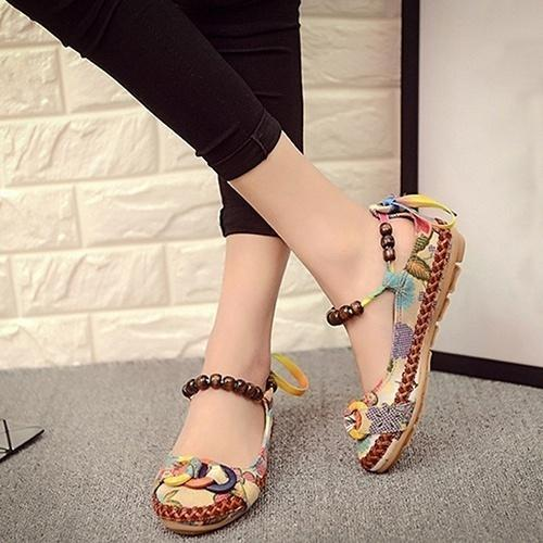 Women Ethnic Lace Up Beading Round Toe Comfortable Flats Colorful Loafers Shoes(Size 35-42)