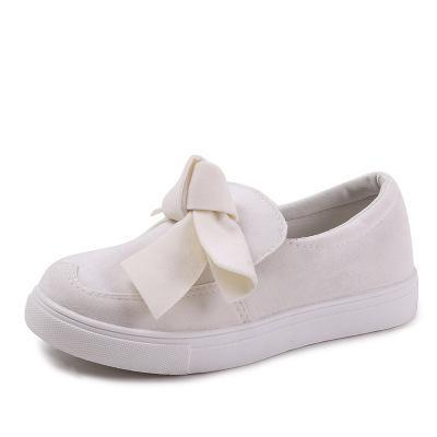 Women's Casual Sneaker Solid Color Bowknot White Sole Slip On Flat Shoes Loafers 4 Colors
