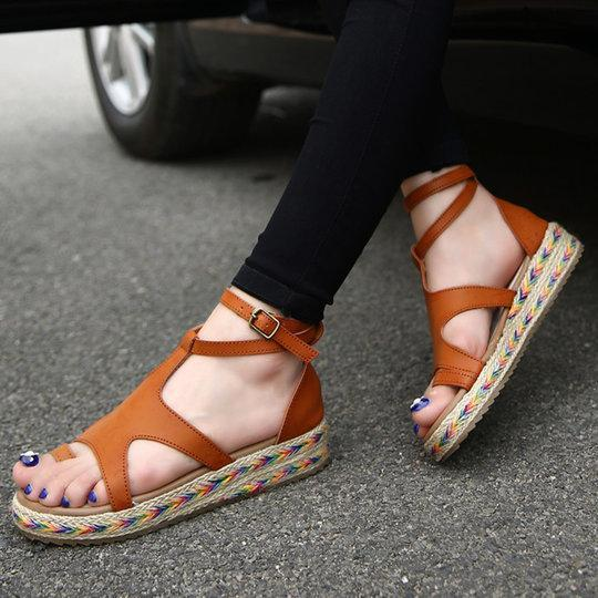 4e81a3397cfad Summer Hollow-out Buckle Wedge Sandals