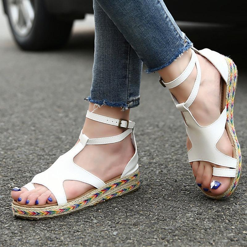 Summer Hollow-out Buckle Wedge Sandals