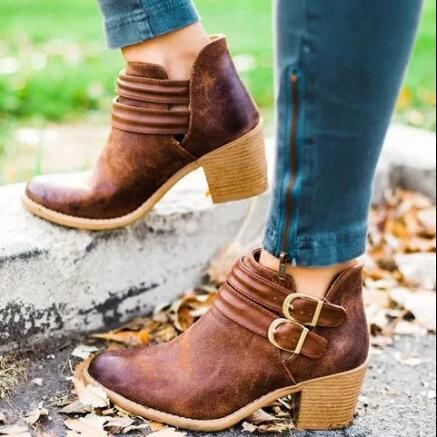 Women Retro PU Booties Adjustable Buckle Middle Heels Ankle Boots