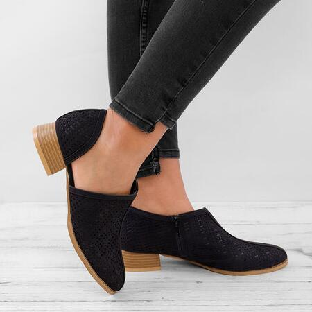 Low Heel Slip-On Ankle Boots Casual Plus Size Cutout Booties