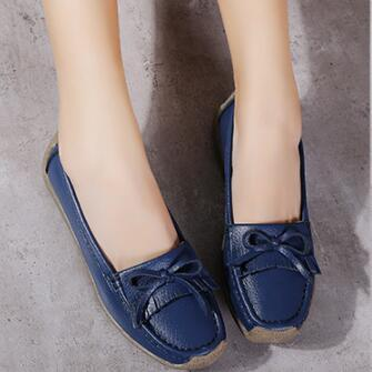 Large Size Split Leather Bowknot Flats