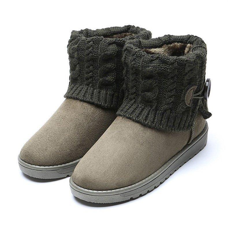 Winter Suede Flat Heel Women Snow Boots