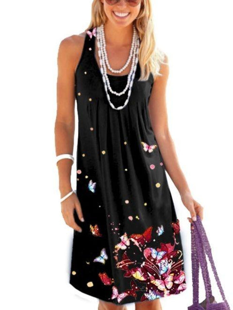 Women Summer Floral Printed Beach Dress Short Mini Dress S-5XL