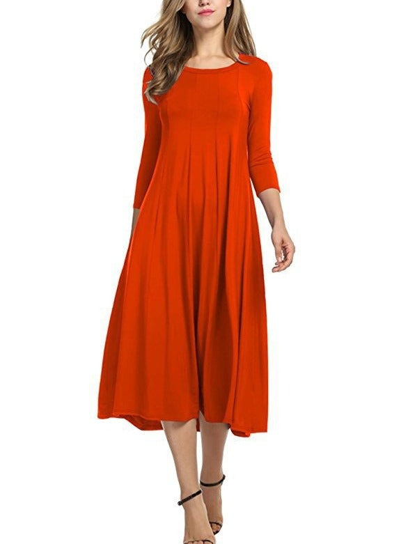 Hot Selling 3/4 Sleeves O-neck Dresses S-3XL Coffee