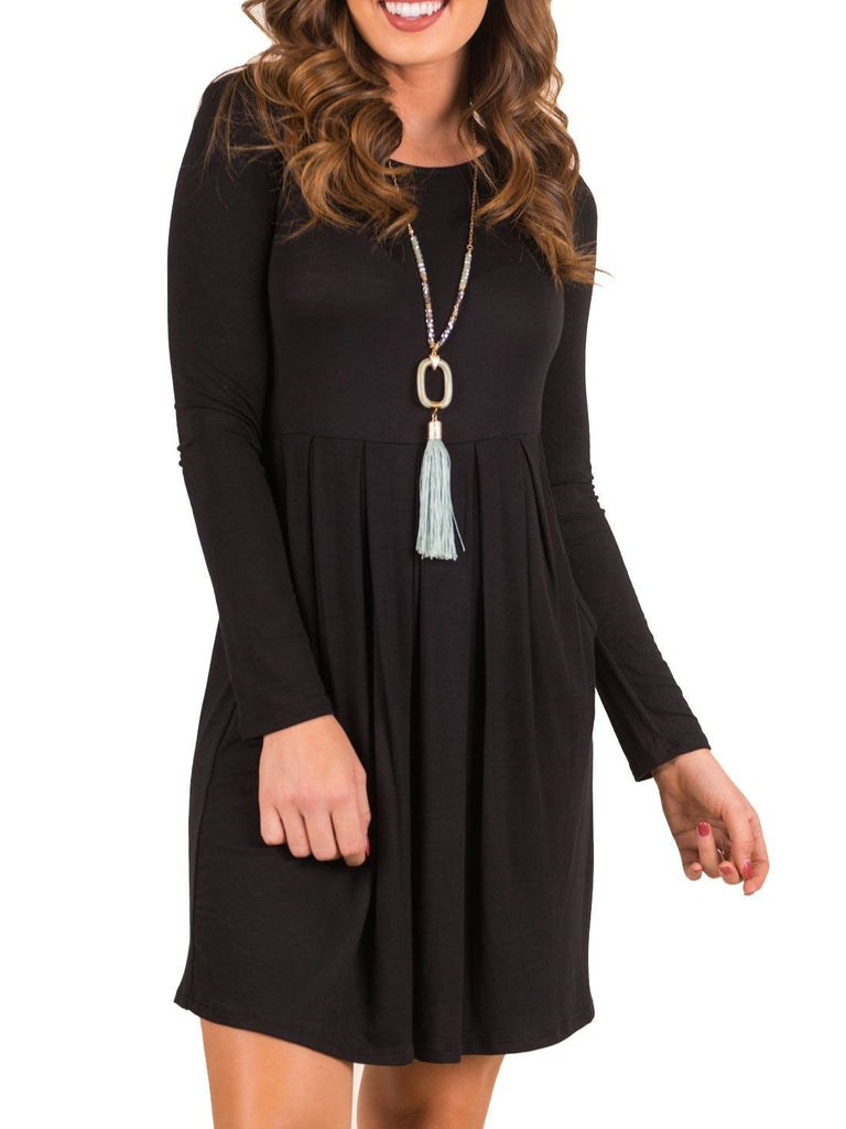 Long Sleeve Solid Color Pockets Casual Swing Pleated T-shirt Dress S-XXL Black