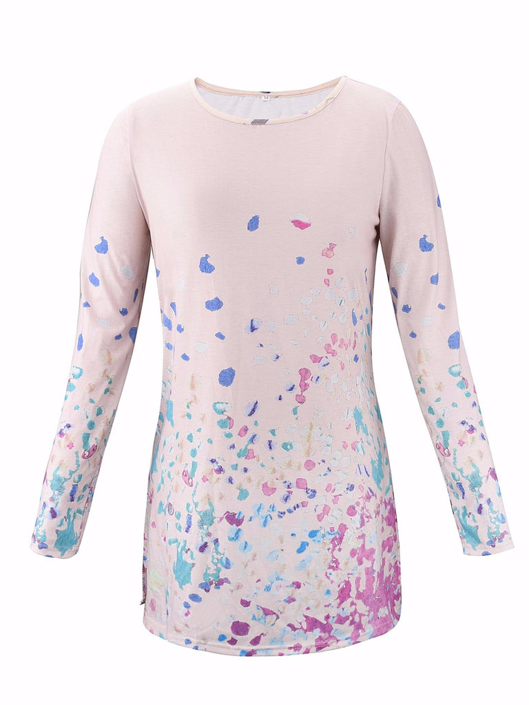 Women Plus Size Printed Long Sleeve Round Neck T-Shirt Tunic Dress