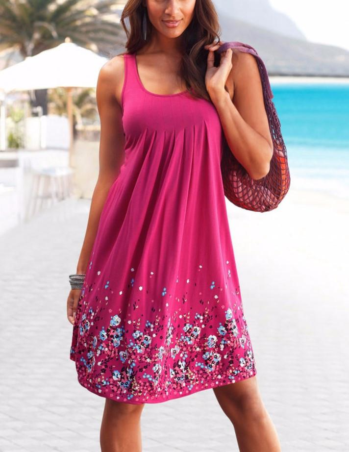 Plus SizeWomen Summer Casual Evening Party Printing Beach Dress Short Purple Mini Dress S-XL
