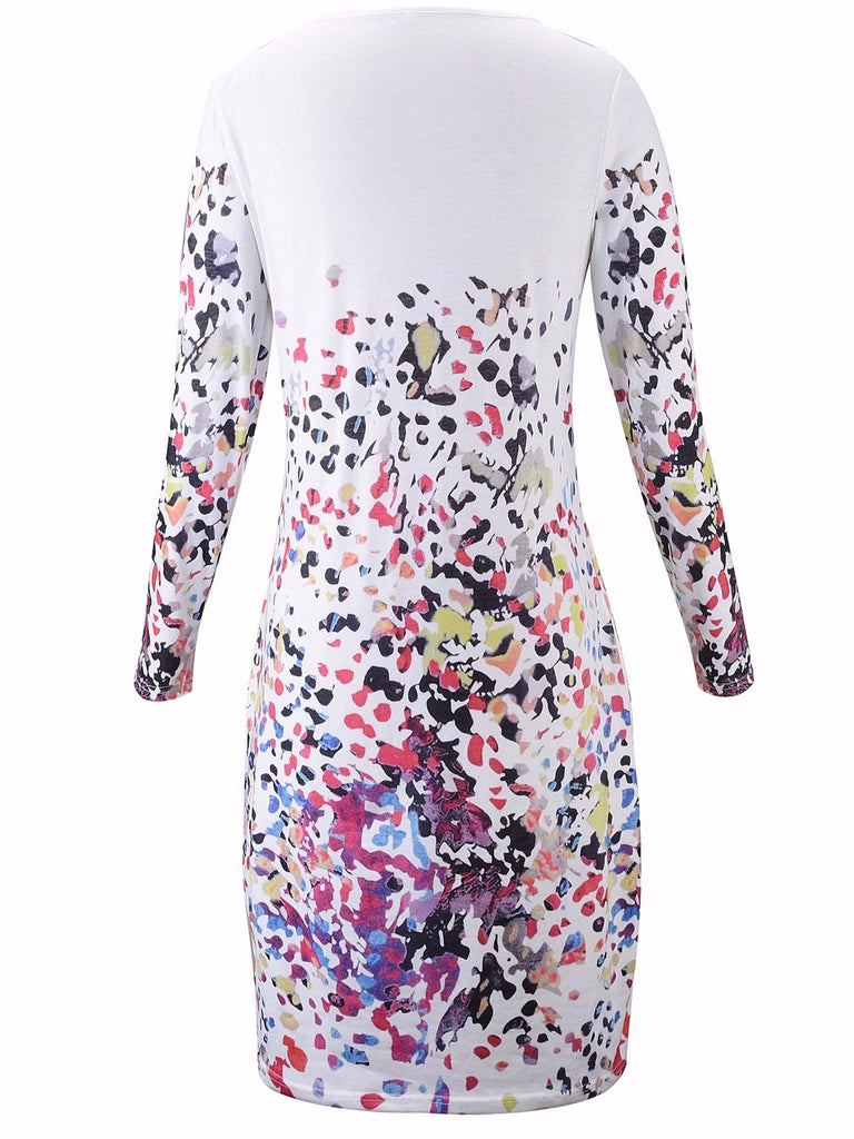 Women Plus Size Printed Chic Tunic Dress with Pockets