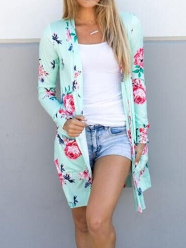 Fashion Floral Printed Knitted Long Sleeve Cardigan S-XXL Green