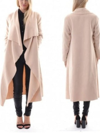 Chic Long-sleeved Cardigan Jacket Irregular Long Coat S-XXL Apricot