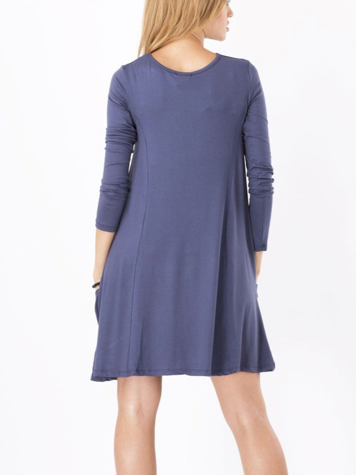 Fashion Long Sleeve Solid Color Dresses With Pockets S-5XL Dark Blue