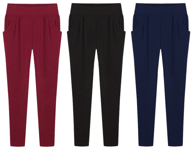 Plus Size Solid Color Haren Pants With Pockets XL-6XL Red
