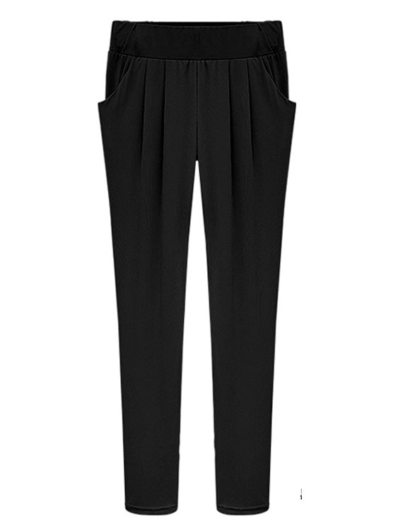 Plus Size Solid Color Haren Pants With Pockets XL-6XL Black