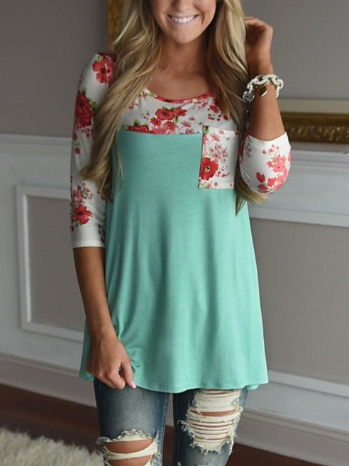 Women Floral Printed Long Sleeve T-shirt Tops S-XL Gray