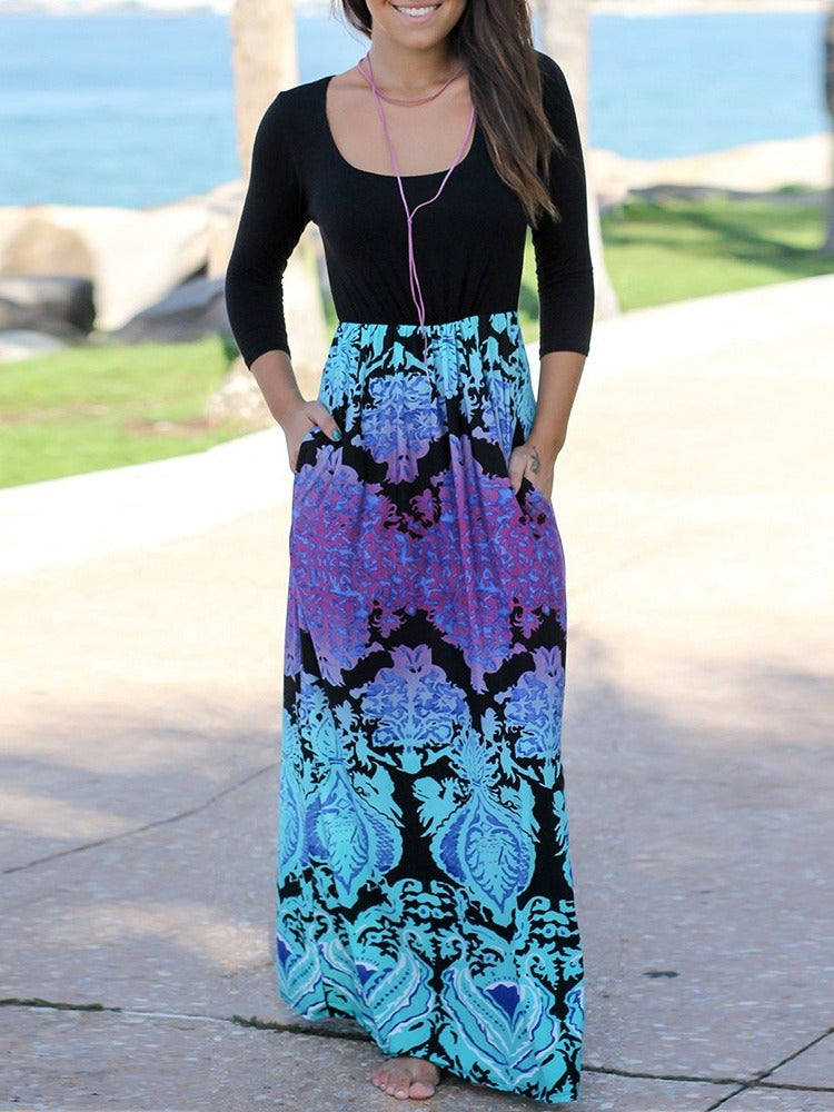 Printed Long Sleeve Beach Dress With Pockets Maxi Dresses S-XXL Black