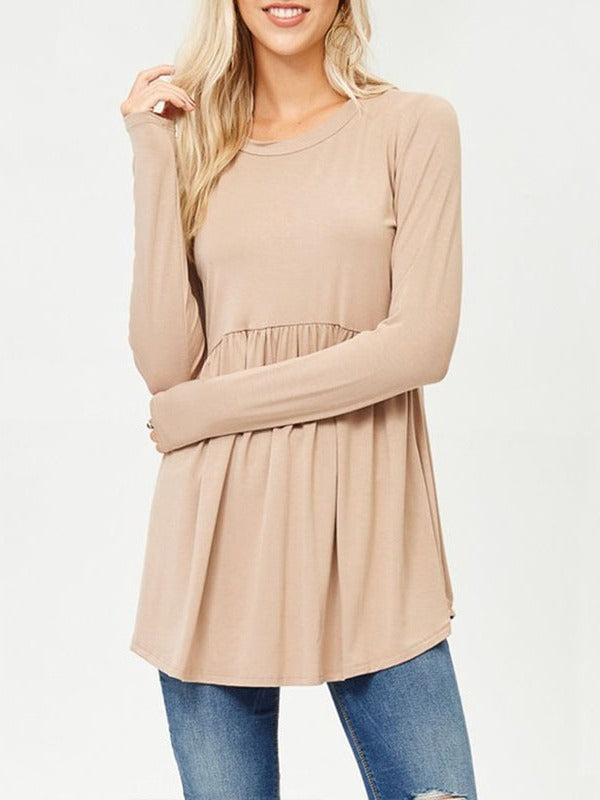 Long Sleeve Round Collar Solid Color T-shirts Tops S-XL