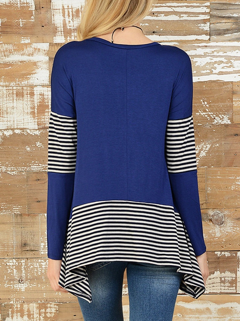 Hot Selling Long Sleeve Striped O-neck Asymmetrical Hem Tops T-shirts S-XL
