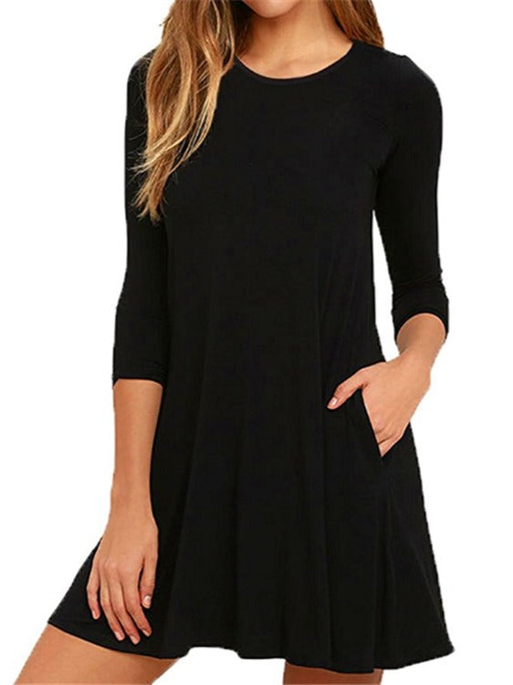 3/4 Long Sleeved O-neck Tunic Dress With Pockets S-XXL