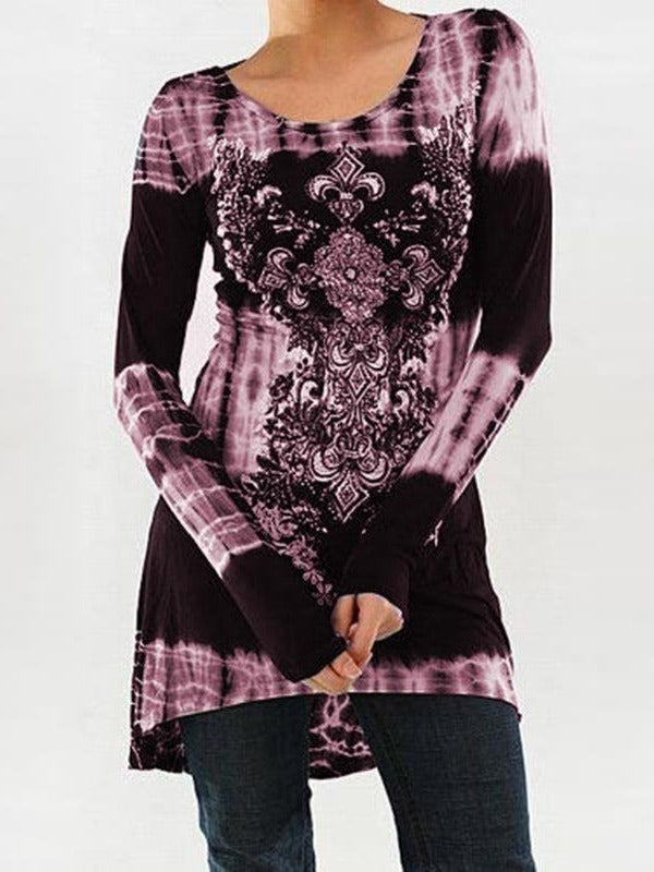 Printed Long Sleeve Asymmetrical Hem T-shirts Tops S-5XL