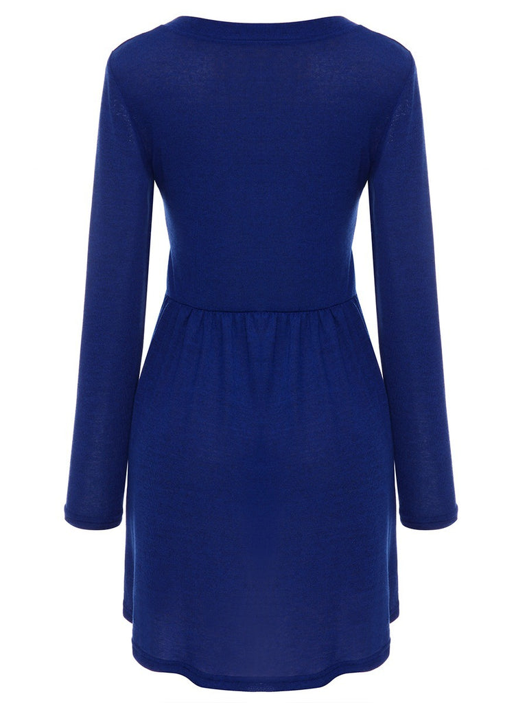 Fashion Long Sleeve O-neck Dresses Long Style Shirt
