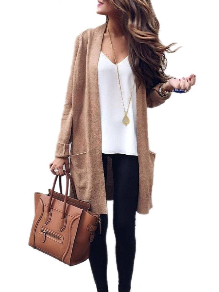 Chic Knitted Long Sleeve Cardigan With Pockets S-XXXL