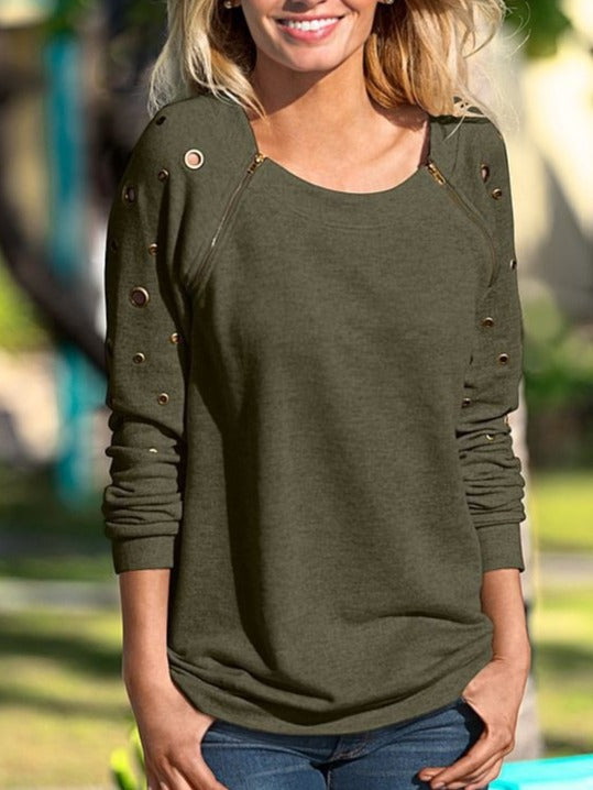 Chic Long Sleeve Sweatshirt Tops Hoodies With Zipper