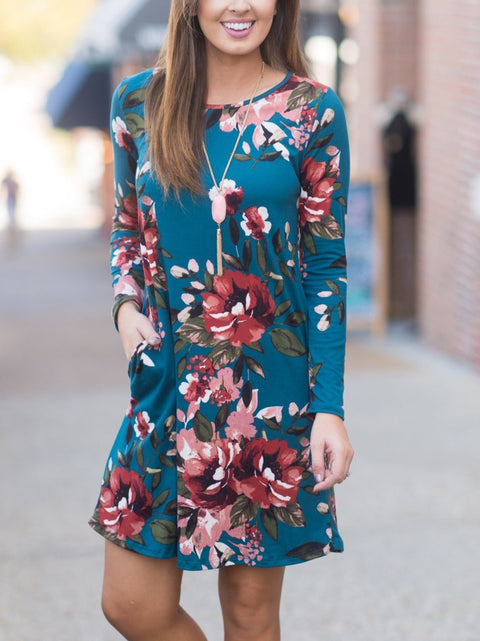 Floral Printed Long Sleeve Tunic Dresses With Pockets