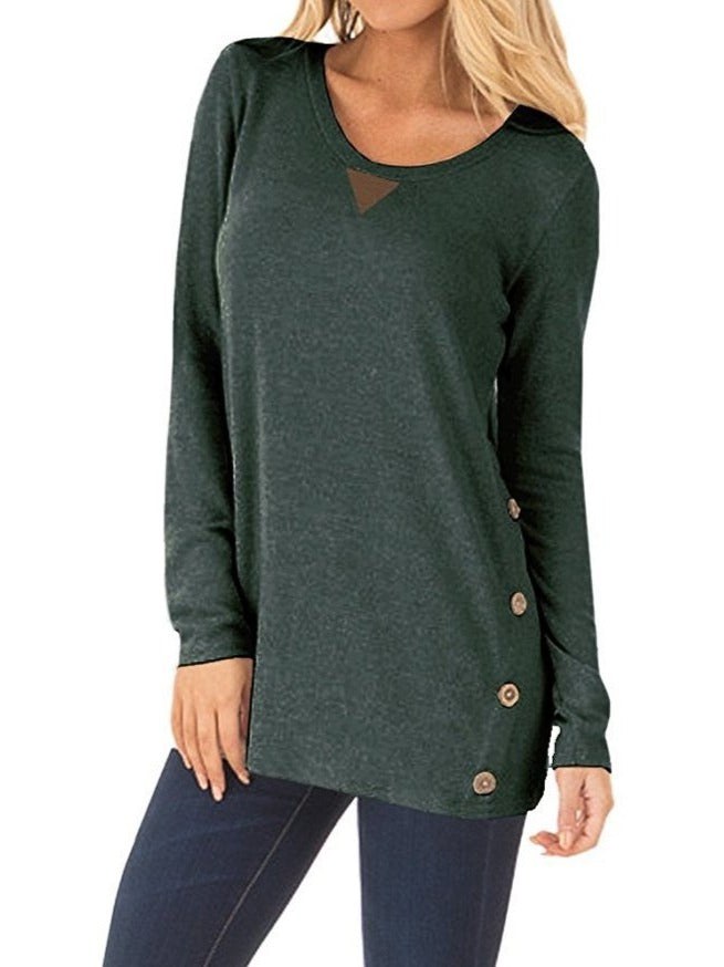Women's Soft Tops with Faux Suede and Button Details
