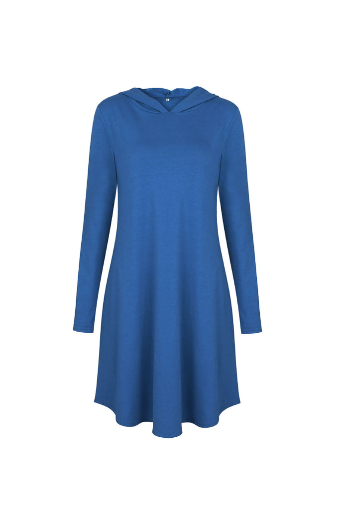 Long Sleeve Hooded Tunic Dress With Pockets