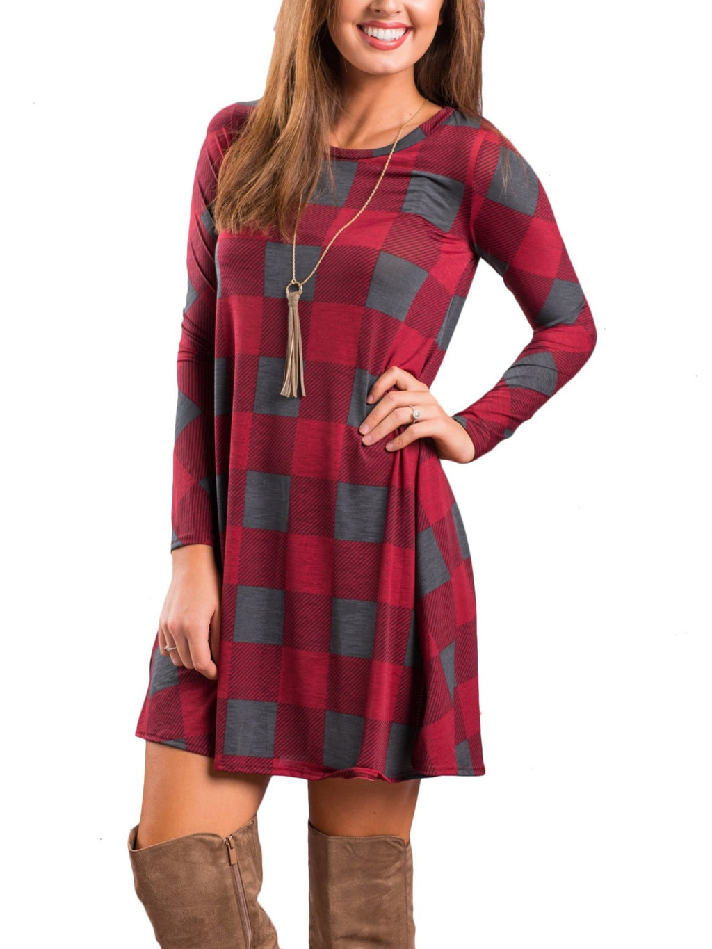Stylish Plaid Printed Long Sleeve Crew Neck Tunics Dresses With Pockets