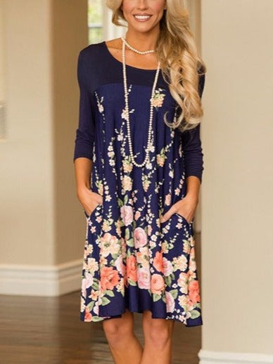 Floral Printed Long Sleeve Crew Neck Dresses Tunics With Pockets
