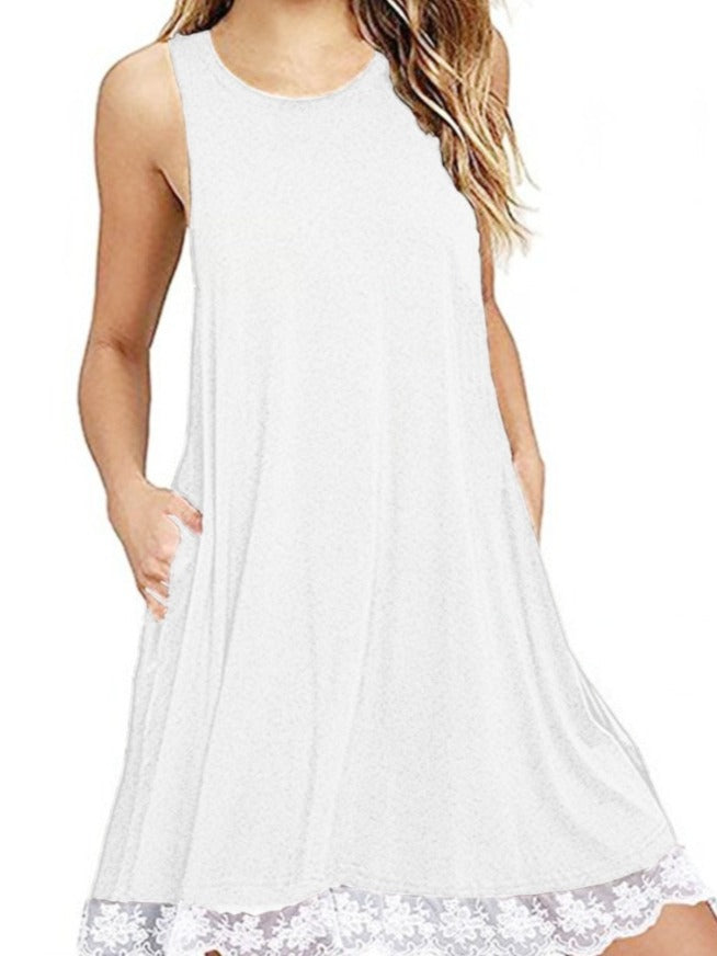 Women's O-neck Sleeveless Tunic Dresses with Pockets