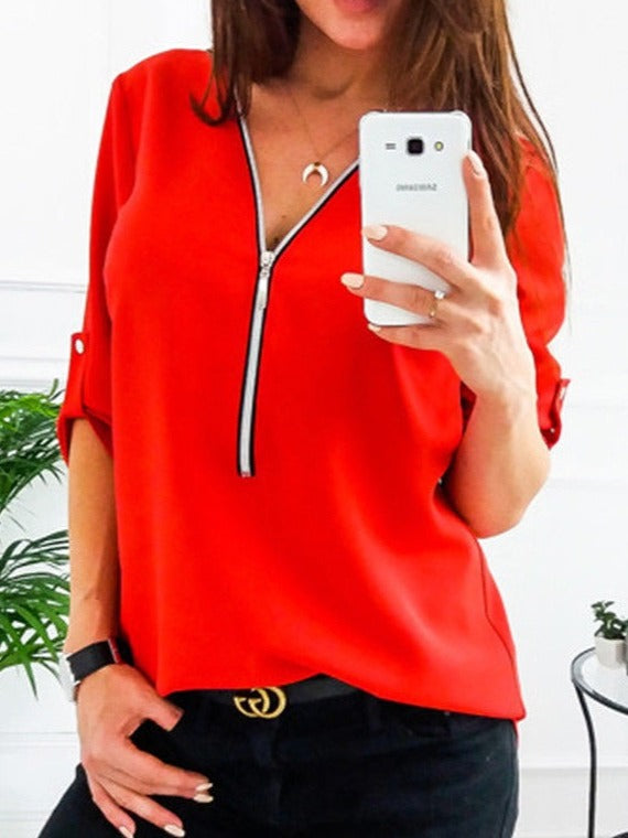 Half Sleeves V-neck Tops Blouses With Zipper
