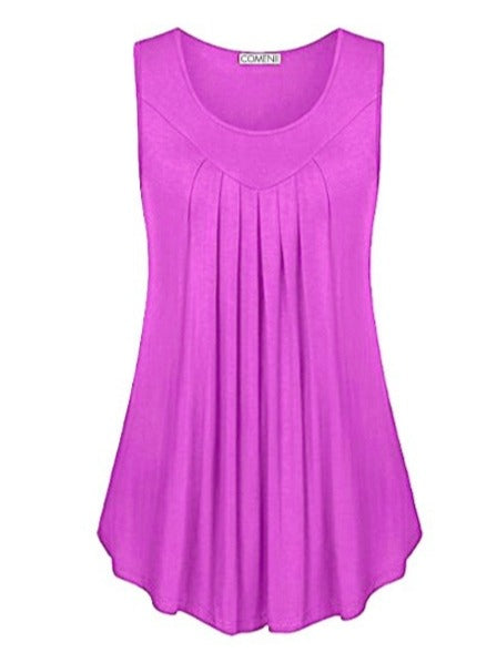 Women's Sleeveless Tops With Folds S-6XL