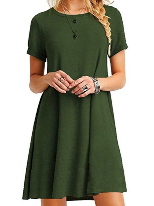 Women's Short Sleeve O-neck Tunic Dresses S-XXXL