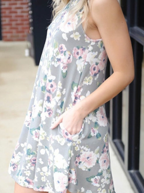 Floral Printed Sleeveless Dresses with Pockets.