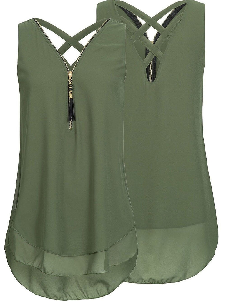 Chiffon V-neck Sleeveless Tops 12 Colors Size S-5XL Choices