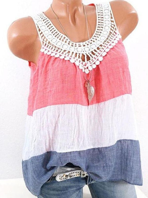 Women Summer Vest Spliced Sleeveless Tops S-XXXXXL