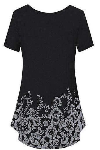 Women's Floral Printed Short Sleeve Tops T-shirts S - XXXXXL