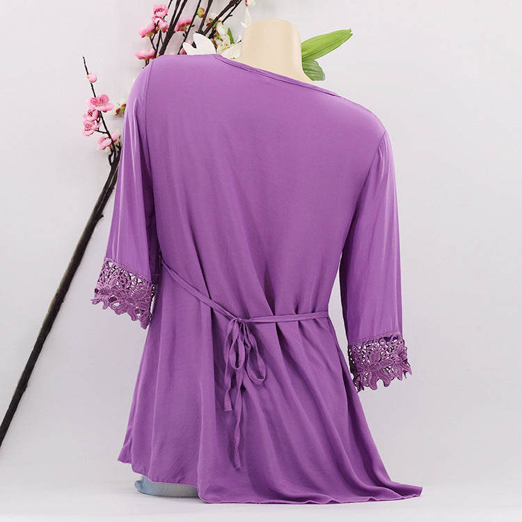 Best Selling Half Sleeve Tops Green White Purple S - XXXXXL